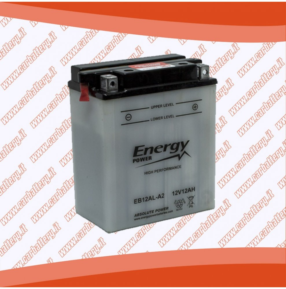Batteria moto YB12AL-A2 ENERGY POWER 12 Ah polo positivo destra sinistra 134x80x160