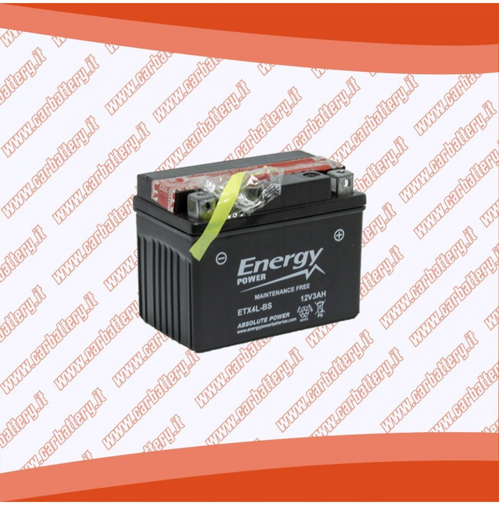 Batteria moto YTX4L-BS ENERGY POWER 3 Ah sigillata con acido polo positivo destra 114x70x85