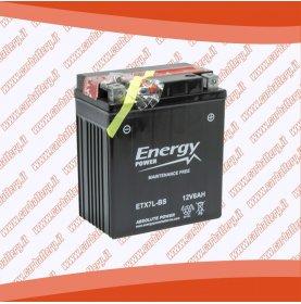 Batteria moto YTX7L-BS ENERGY POWER 6 Ah sigillata con acido polo positivo destra 114x70x130