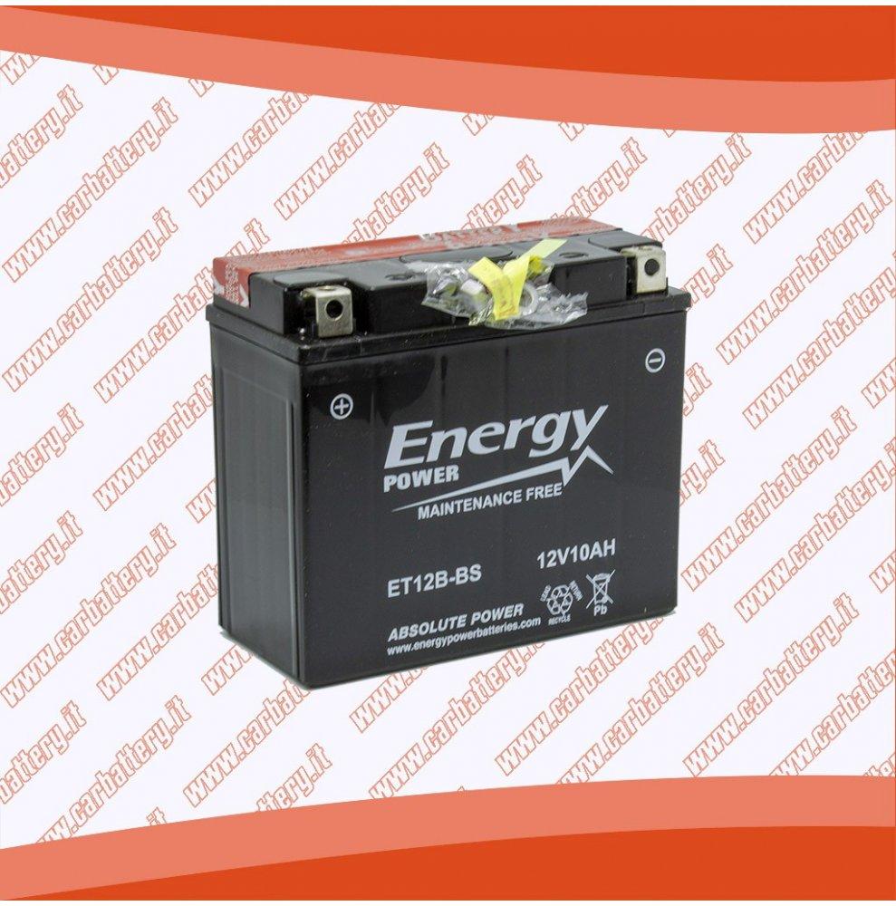 Batteria moto YT12B-BS ENERGY POWER 10 Ah sigillata con acido polo positivo sinistra 150x69x130